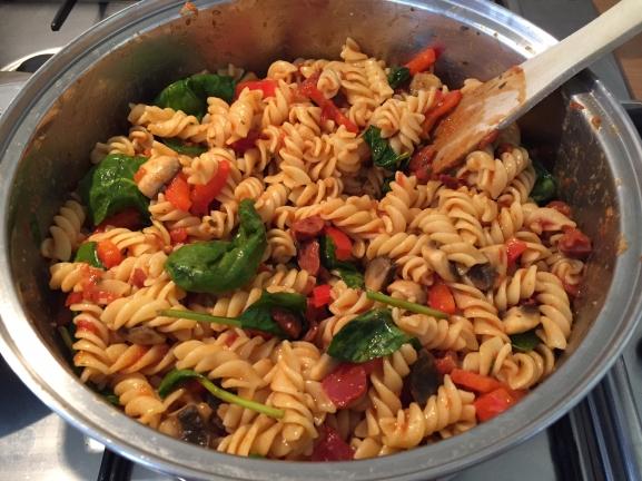chorizo pasta in pot