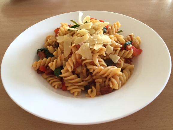 chorizo pasta with tomoatoes and veg